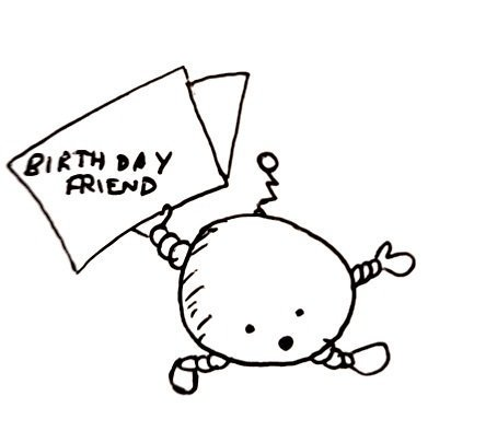 A little round robot waves a birthday card over its head looking excited