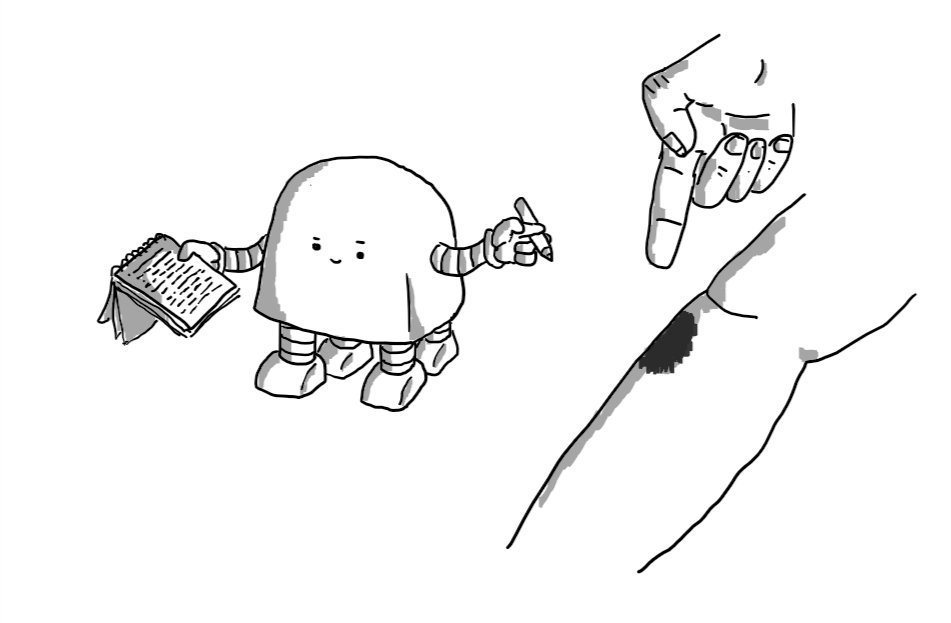 A trapezoid robot with a rounded top, four legs and two arms, consulting a densely-filled notebook page as someone displays a bruised shin and points meaningfully at it.