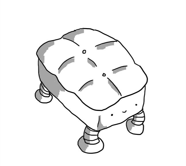 A robot in the form of a rectangular cushioned footrest with its legs replaced with banded robot legs and a little smiley face on one of the short ends.