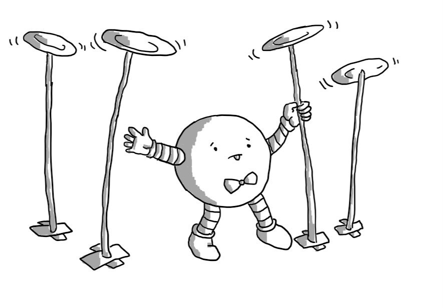 A spherical robot wearing a little bowtie in the act of spinning a set of four plates on tall sticks. It's tongue is sticking out in concentration and it looks faintly worried.