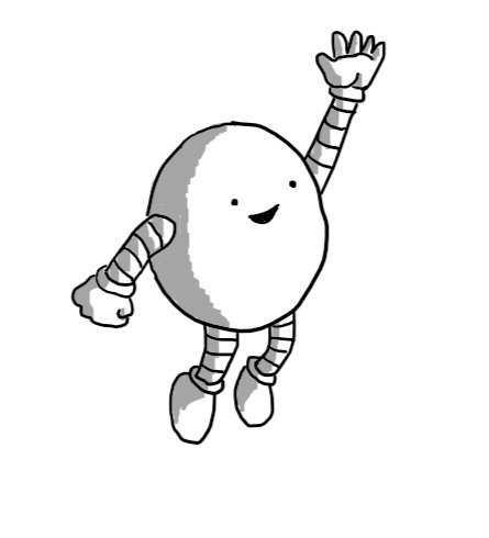 A round robot jumping into the air with its hand raised and a big smile on its face.