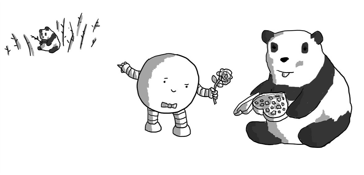 A round robot with a bowtie, giving a rose to a female panda who already has a heart-shaped box of chocolates in her paws. It's pointing backwards with its free hand at a male panda sitting in a bamboo thicket, obviously munching a stalk.