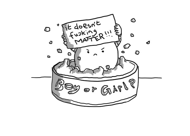 """An angry round robot bursting from a cake that says """"Boy or Girl?"""" in icing on the side, holding a sign on which is scrawled """"it doesn't fucking MATTER!!!"""""""