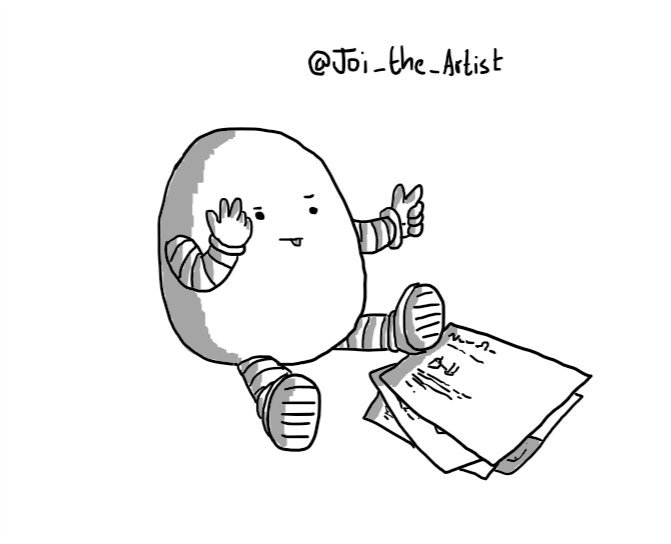 An ovoid robot sitting down next to a sheaf of papers that show the Notokaybot crochet pattern, counting on its fingers as it sticks its tongue out in concentration.