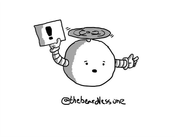 A spherical robot held aloft by a propeller on its top, and holding up a small sign with an exclamation mark on it.