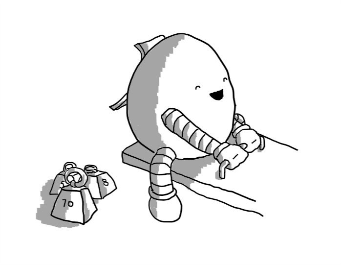 A happy, egg-shaped robot sitting on one end of a see-saw. A hatch on its back is open and a collection of small trapezoid weights are on the ground next to it.