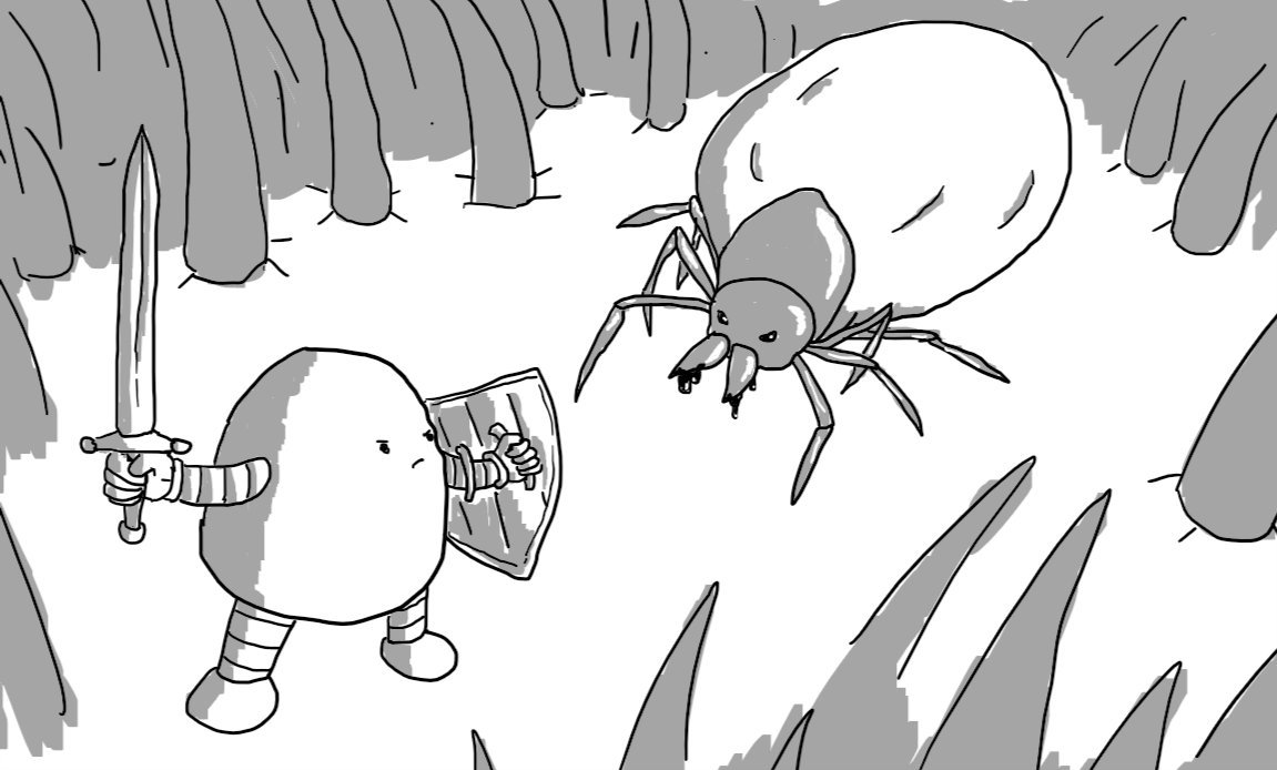 A tiny robot with a sword and shield facing down a swollen tick in a forest of hair.