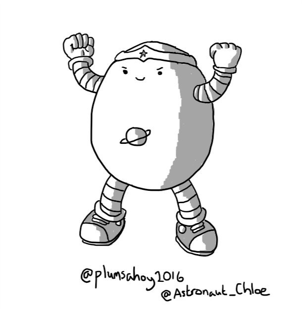 An ovoid robot wearing a Wonder Woman-style tiara and converses and with a ringed planet symbol on its belly. It's raising and flexing its biceps in a power pose with an expression of pleased determination on its face.