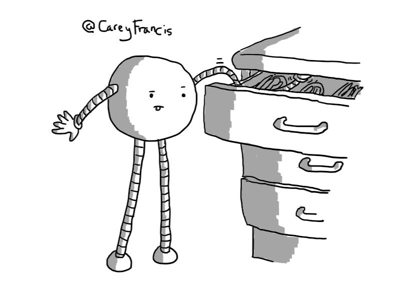 A spherical robot with long, banded legs and arms, reaching into a kitchen drawer with a long, wiggly arm. It has an expression of intense concentration with its tongue sticking out.