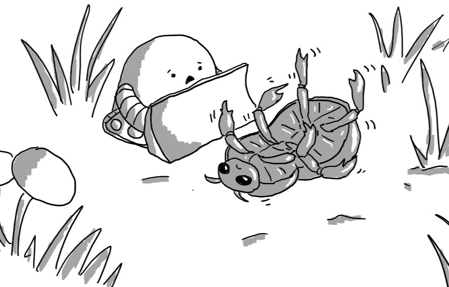 An upturned beetle lying in an area of dirt with tufts of grass and some mushrooms growing nearby, waggling its legs and looking sad. A rounded robot with tracks and a large bulldozer blade on its front is approaching with a concerned expression on its face.