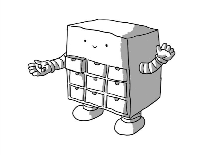 A cuboid robot with nine little drawers built into its front. It has banded arms and sturdy banded legs and is waving with one hand while the other holds out some pills. Its upper right drawer is fractionally pulled out.