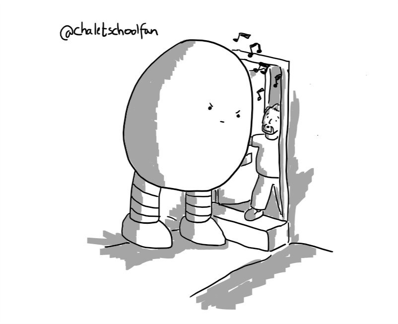 A large, egg-shaped robot with two sturdy, banded legs standing by a doorstep and glaring down at the shocked man opening the door as musical notes drift out.