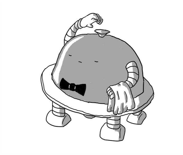 A robot in the form of a plate with a silver cloche on top of it. It has four legs on the bottom and two arms on the cloche section. One arm has a serving towel draped across the wrist while the other is reaching to the cloche section's handle as if about to lift it off. The robot is wearing a black bowtie and its face, which is on the front of the cloche, is composed in a dignified pout with eyes closed.