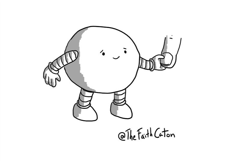 A spherical robot with a sympathetic smile, gently holding someone's finger.