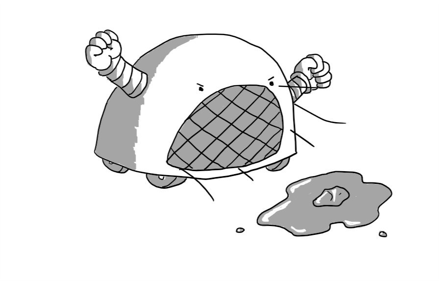 A dome-shaped robot on four wheels with two arms on either side. Instead of a mouth it has a large grill which blasts heat and is currently melting a small chunk of ice into a puddle. Its fists are clenched and it looks very angry.