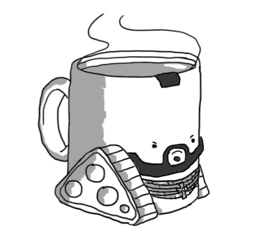 Teabot - a robot mug of tea with caterpillar tracks on either side - but with the addition of a beard, a little wedge of mohawk on the rim and gold chains around its lower section. Unlike normal Teabot, this version looks quite angry.