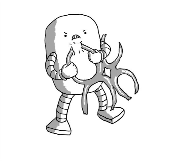 An angry robot shaped like a rounded cylinder, pulling apart a loop in a plastic four-pack ring.