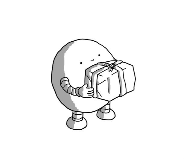 A round robot with banded arms and legs, smiling and proffering a gift-wrapped box.