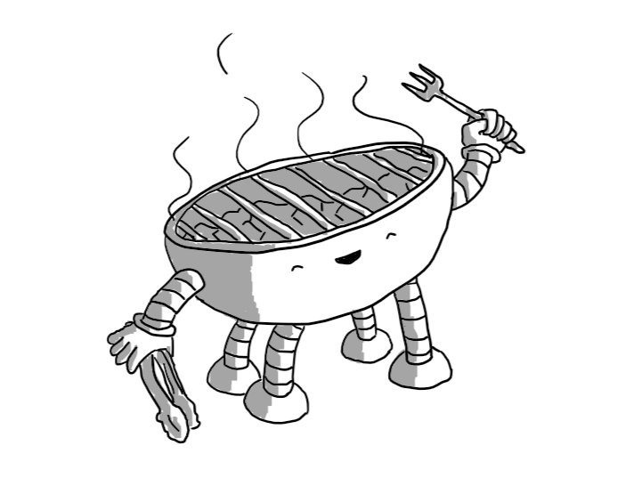 A robot in the form of a bowl-shaped barbecue, with four banded legs and two arms, one holding a long barbecue fork and the other holding a set of tongs. The robot is smiling happily with its eyes closed as it gestures with its fork towards its smoking grill.