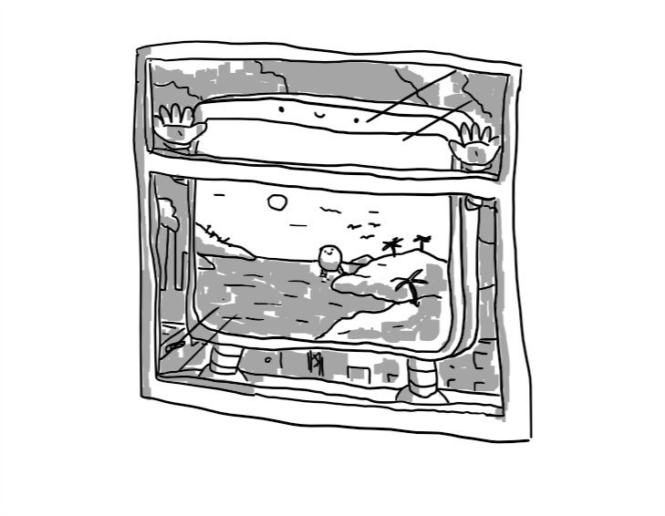 A window with a large, flat robot pressed up against it. The view behind it consists of dark factories and smog, while the robot itself has a screen on its surface showing an idyllic lagoon, complete with Bigbot stepping ashore in the background.