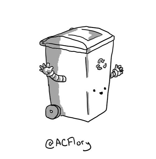 A robot in the form of a plastic wheelie-bin, with two little arms on either side and a smiling face on the lower front.