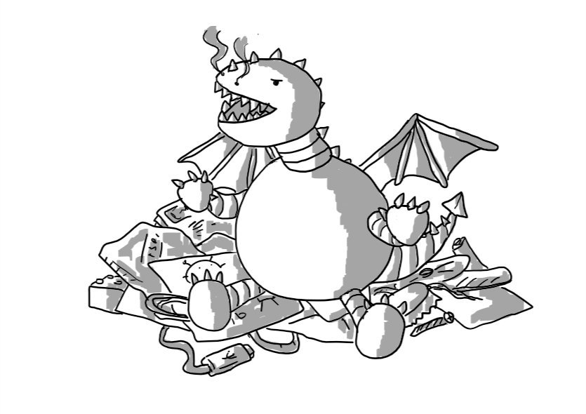 A robotic dragon with a large spherical body and an ovoid head with a large, fang-filled mouth. It has little wings and a barbed tail and is sitting on a heap containing magazines, envelopes, a child's drawing, a USB cord, a bottle cap, a Lego brick, a CD, a paperclip, a hairband and a nail file.