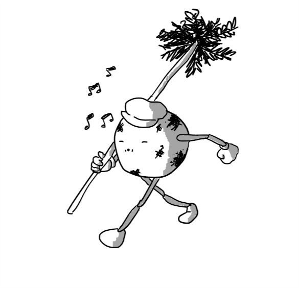 A spherical robot with jointed arms and legs, carrying a long chimney brush over one shoulder as it walks along, whistling cheerily. It's wearing a shapeless peaked cap and is covered in smears of soot.