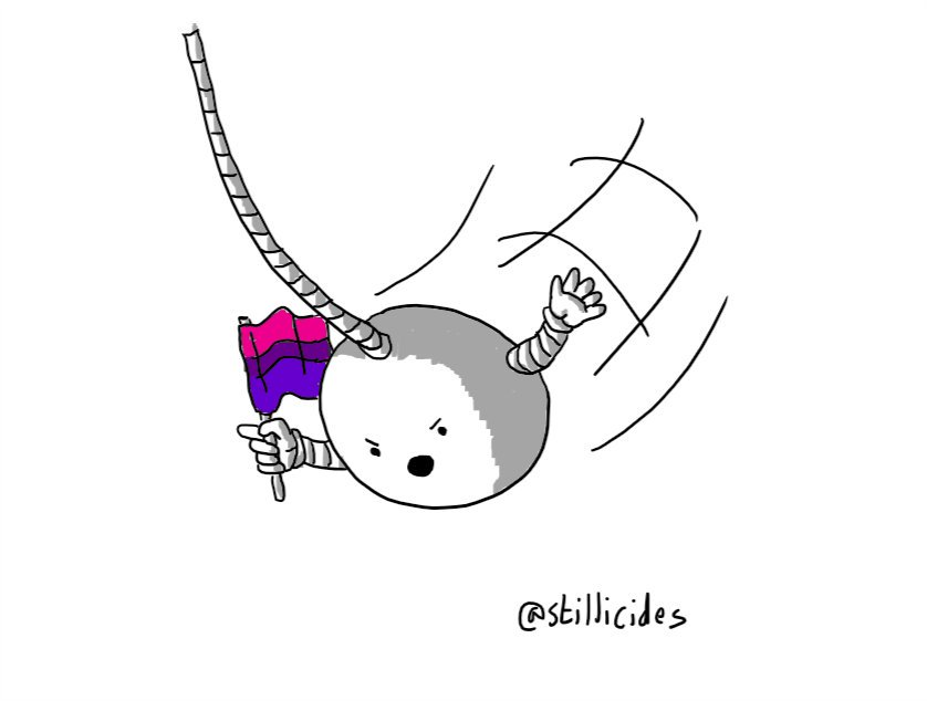 A spherical robot suspended on a long cable, swinging into view waving a bisexual flag and angrily pointing and gesticulating.