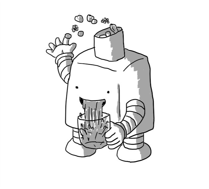 A rounded cuboid robot with an angled funnel on its top into which it is tossing a handful of mixed berries. It has a big wide smile from which is issuing a gushing stream of juice, splashing into a glass it is holding in its other hand.