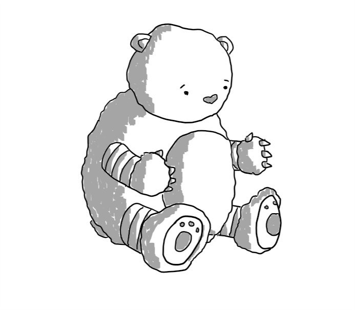 A robot in the form of a teddy bear, holding its big fuzzy paws out for a hug.
