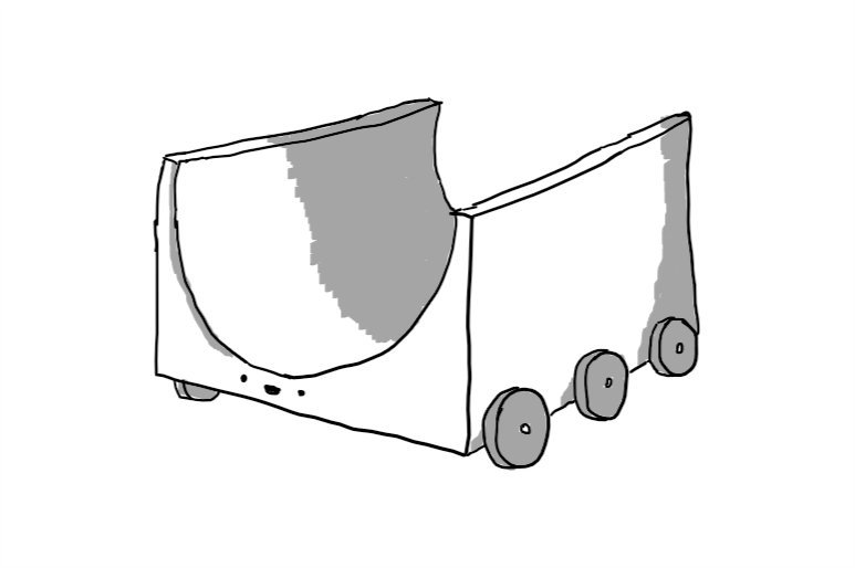 A robot half-pipe with three pairs of wheels along its long edges. Its face is on the front, below the lowest point of the skating surface.