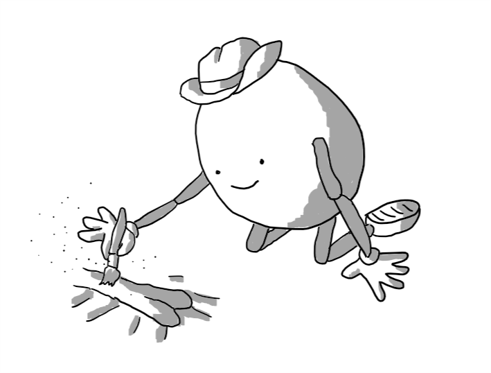 An ovoid robot with jointed arms and legs and a little stetson hat, kneeling over a fossilised bone, dusting it down with a little brush.