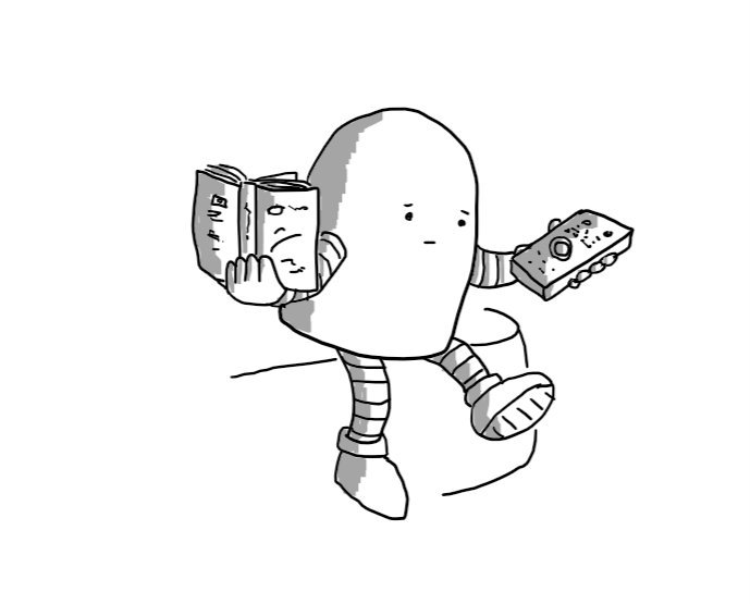 A round-topped robot with a serious face sitting on the edge of a sofa, a book in one hand and a TV remote in the other.