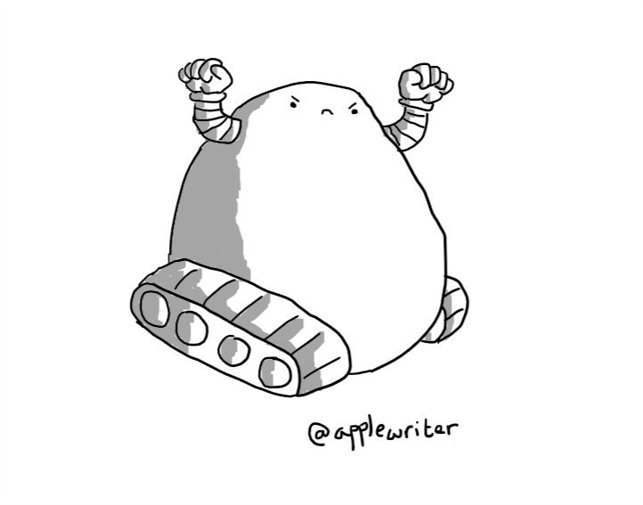 A large, pear-shaped robot mounted on two caterpillar tracks, with two banded arms raised in fists and an angry little face near the top of its body.