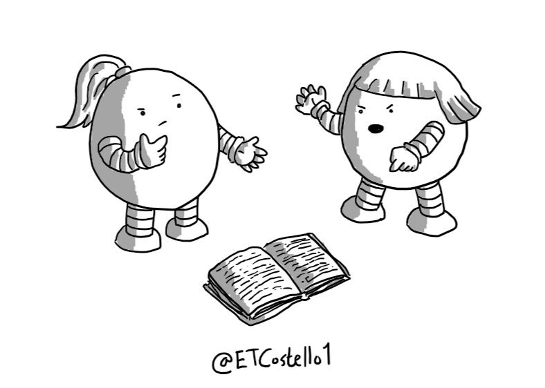 Two round robots, one with a high ponytail and one with a bob, passionately arguing as they stand over an open book.
