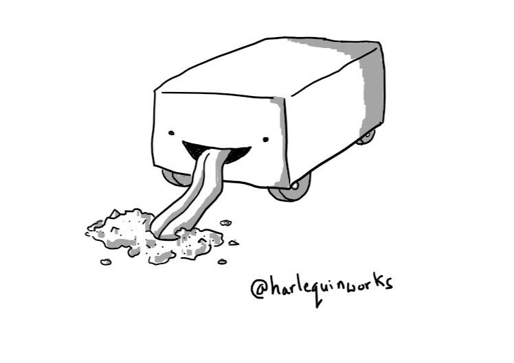 A cuboid robot on four wheels tucked under its sides. Its face is on one of its short ends and a long tongue is extending from its mouth to lap at a pile of sawdust on the floor.