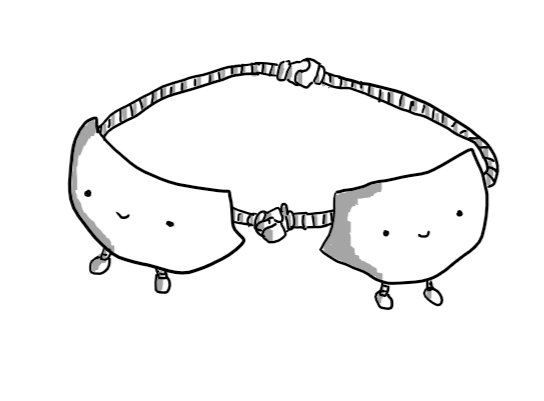 Two robots shaped like the cups of a bra. They each have one long, banded arm reaching behind them to hold hands in the rear clasp position, while their other hands are held at the front. Little legs dangle down from the bottom of each robot.