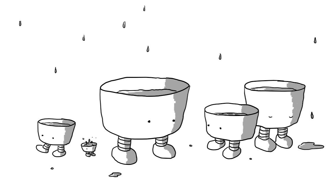 A set of five robots in the form of flat-bottomed bowls of various sizes, partially filled with water and each with a pair of legs on the bottom and eyes on the front. One is walking off somewhere, the smallest is being surprised by a splash landing in it and one on the far right has fallen asleep - a small puddle has formed beside it as a result. A series of drips are falling from above.