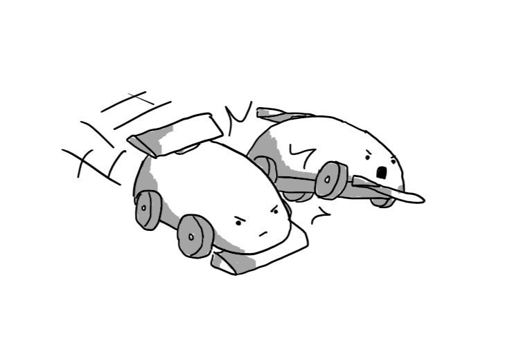 Two robots, styled like rounded, simplified open-wheel racing cars. Each has a front wing and a spoiler at their rear. One is zooming forward with a determined expression on its face, while bumping the other out of its path. The bumped robot is in mid-air and had a look of appalled indignation.