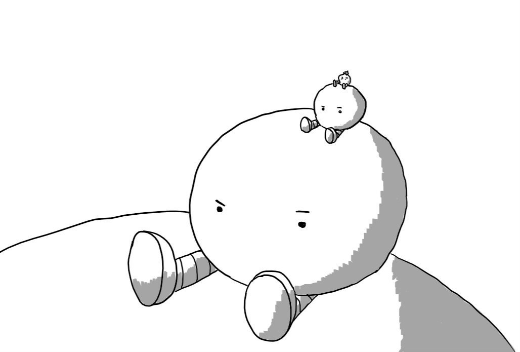 A spherical robot with banded legs sitting on top of a larger version of itself, with a smaller version of itself on top of it, and a smaller version on top of that one and so on to the limit of visibility. It has no mouth but its eyes convey an expression of confused frustration.