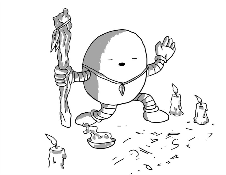 An ovoid robot holding a gnarled wooden staff hung with feathers in one hand, wearing a crystal pendant as a necklace and kneeling with its free hand raised and its eyes closed, mouth open as if speaking. It's surrounded by guttering candles, has a bowl of smoking incense and the floor in front of it is inscribed with arcane symbols.