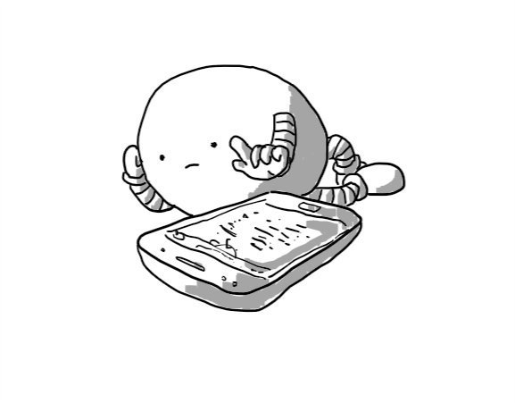A bored-looking ovoid robot sprawled beside a phone. It's propped up on one hand while the other hovers, finger extended, over the screen.