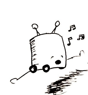 A small wheeled robot with its mouth open mid song