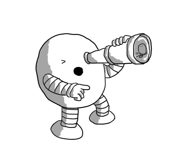 A round robot holding a telescope to one eye and pointing with its other hand, mouth open as if shouting a warning. The lens of the telescope reflects an image of Bigbot coming ashore.