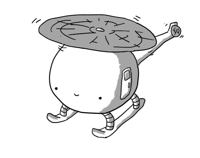 A spherical robot helicopter with a door in one side and a smiley face on the front.
