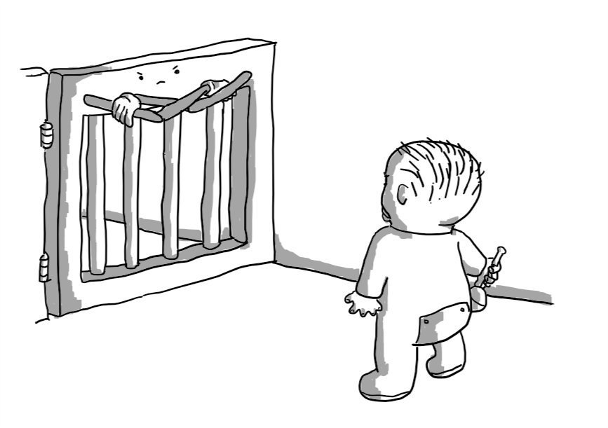 A robot in the form of a baby gate, blocking the path of a toddler in a onesie holding a rattle. The robot has two jointed arms folded across its top section and is making a stern face.