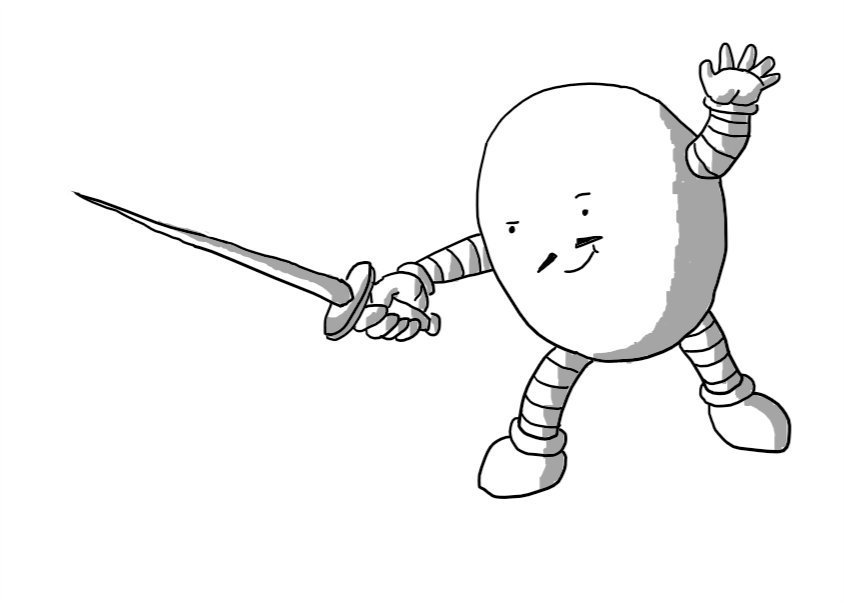 An ovoid robot brandishing a letter opener like a sword. It has a smirk and a thin moustache and is lunging forward with its free hand raised like a fencer.