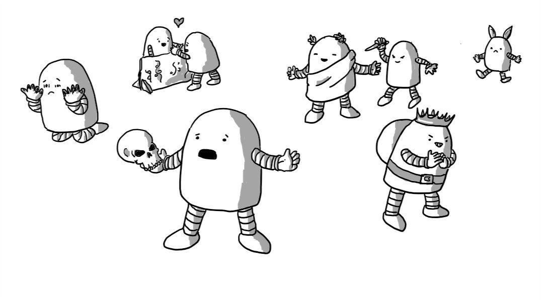 A selection of round-topped robots, performing scenes from Shakespeare plays: one is on its knees staring at blood on its hands, two are swooning over a stage scenery balcony, one is delivering a soliloquy holding a skull, one is dressed in Roman toga and laurels being snuck up on by another weilding a knife, one is wearing a hump and a crown and grinning evilly, and one has donkey ears and looks upset about it.