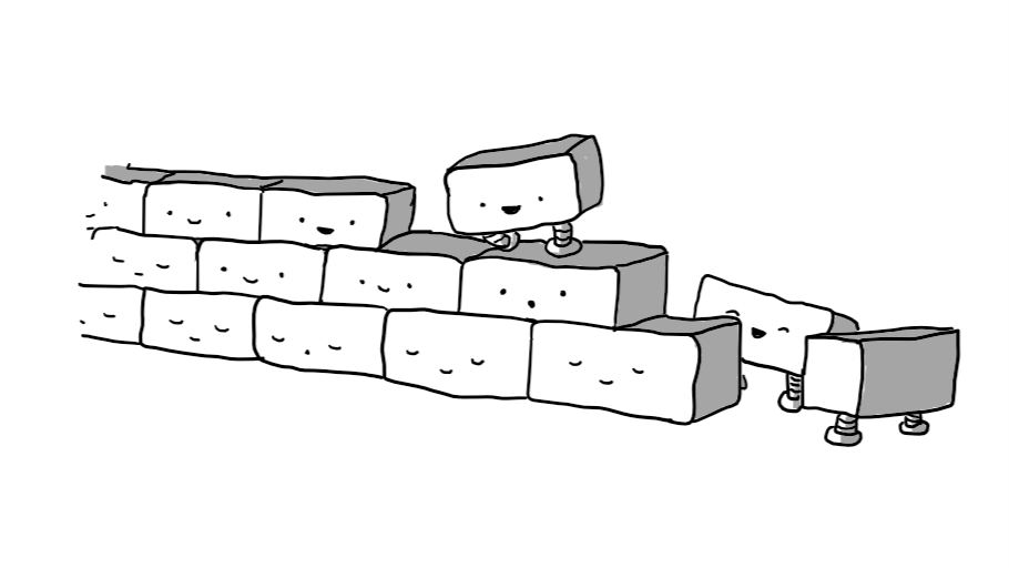 A three-layer high wall of bricks, all with little faces on them. Most of the lower bricks are happily sleeping (one is snoring) while the uppermost are awake with one standing and manoeuvring itself into position while two more look on from the ground.