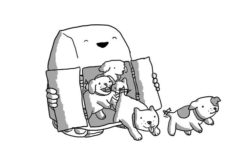 A boxy robot with a curved front and two caterpillar tracks on the bottom. It has two hinged doors on the front which it is pulling open to reveal at least five puppies that are jumping out, tails wagging.